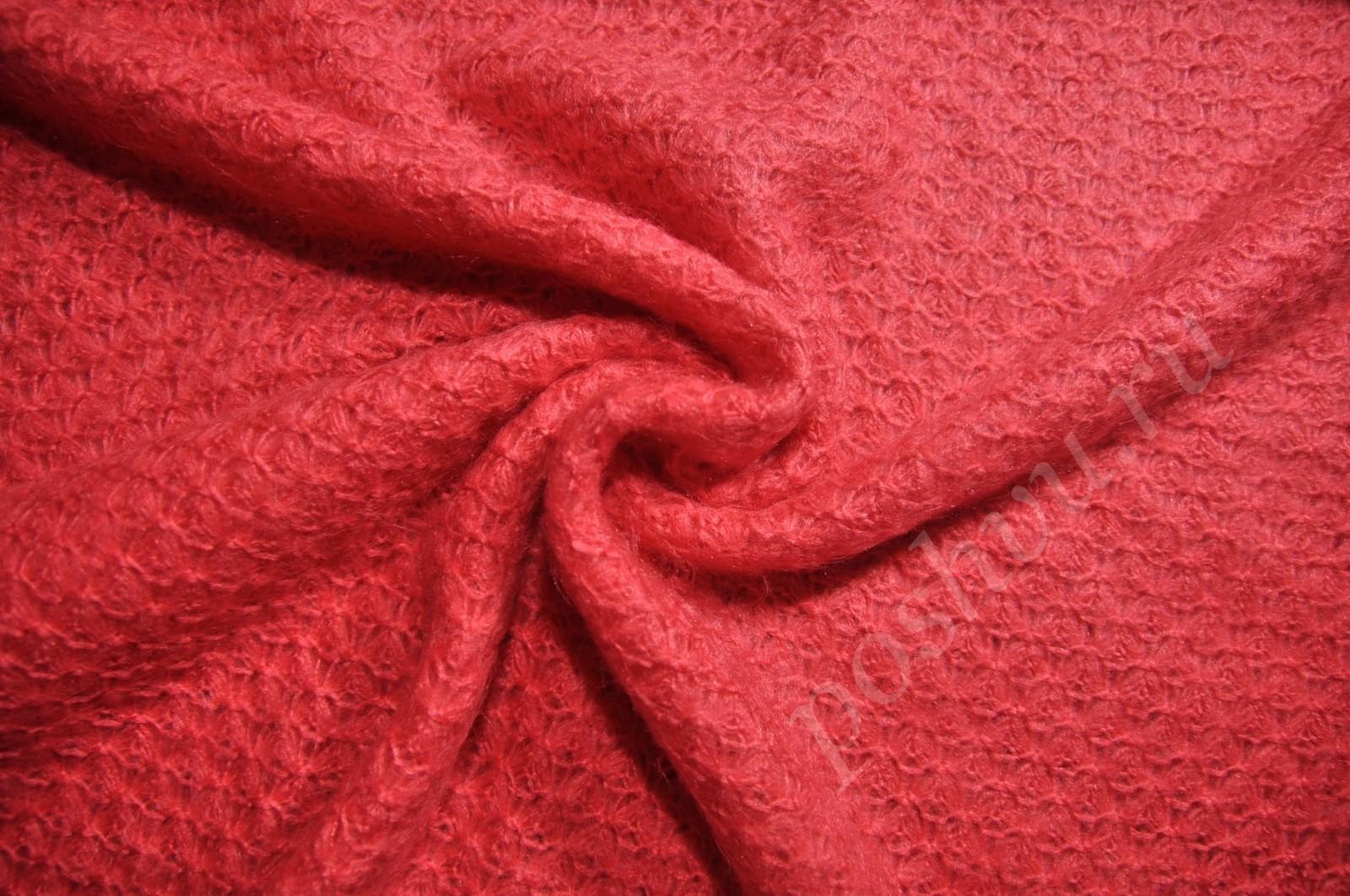 вязаное полотно паутинка красного цвета купить недорого красивая