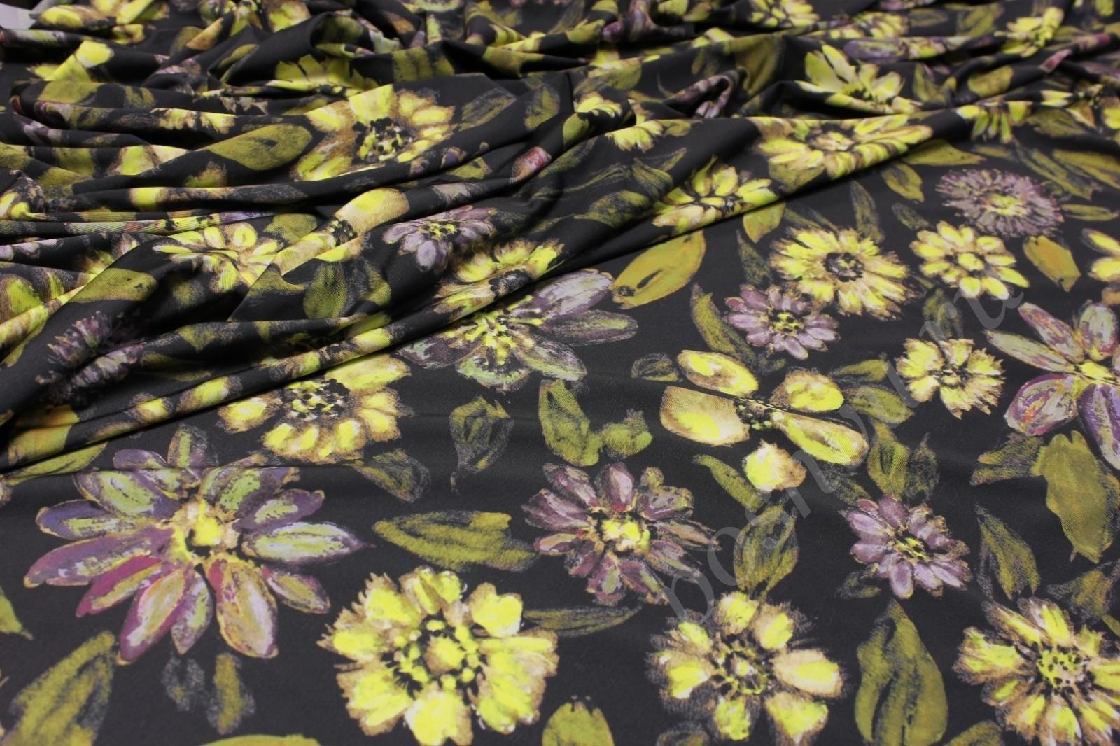 7d3e939fe6725 Ткань бифлекс бесконечность черная с цветочным орнаментом — купить ...