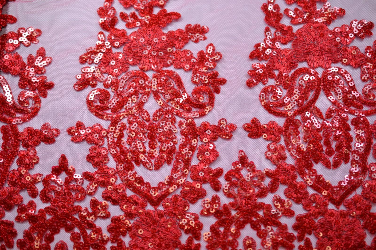Ткань гипюр красного цвета с вышивкой и пайетками купить в интернет ... ea71940a807