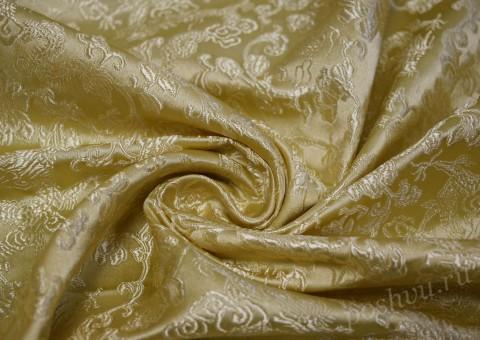 Ткань китайский шелк золотистого оттенка