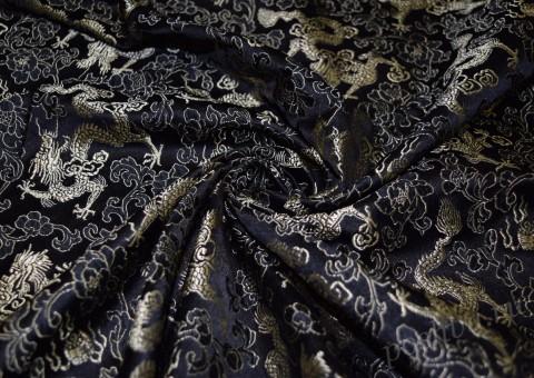 Ткань китайский шелк черный с драконами