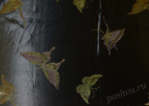 Ткань китайский шелк черный с принтом
