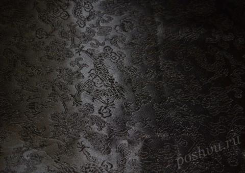 Ткань китайский шелк черный Тысяча цветов