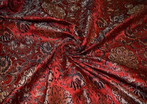 Ткань китайский шелк коричневый Медальон удачи