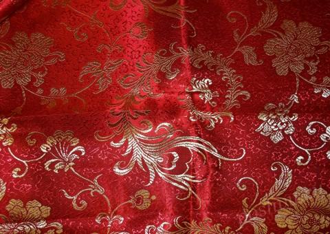 Ткань китайский шелк красный