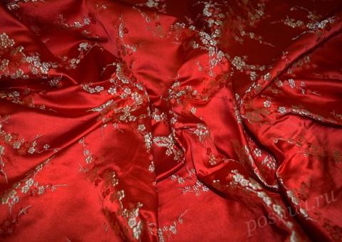Ткань китайский шелк красный с сакурой