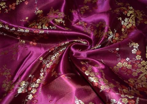 Китайский шелк лилового оттенка с сакурой