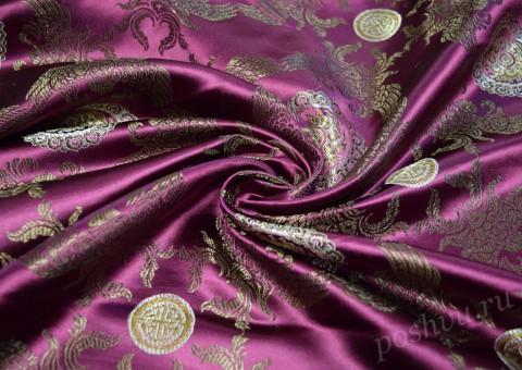 Ткань китайский шелк сиреневый Полет Феникса