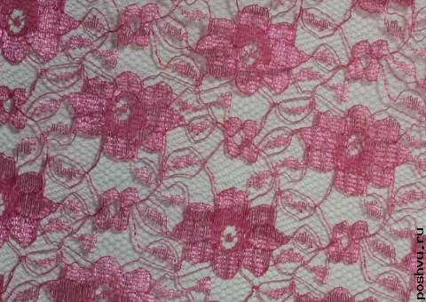 Ткань гипюр красное цветочное плетение