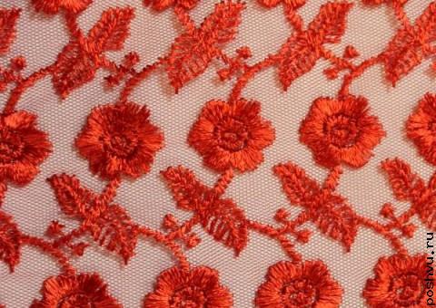Ткань гипюр красные незабудки