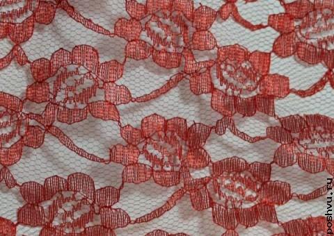 Ткань гипюр красный Венгрия