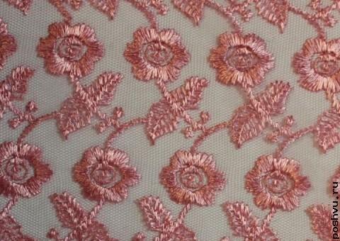Ткань гипюр розовый Для девушек