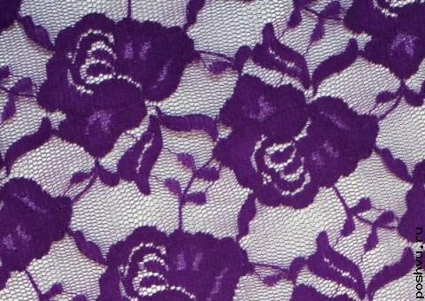 Ткань гипюр стрейчевый пурпурный Роза
