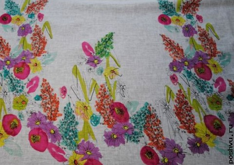Хлопковая ткань ситец Натюрморт из цветов