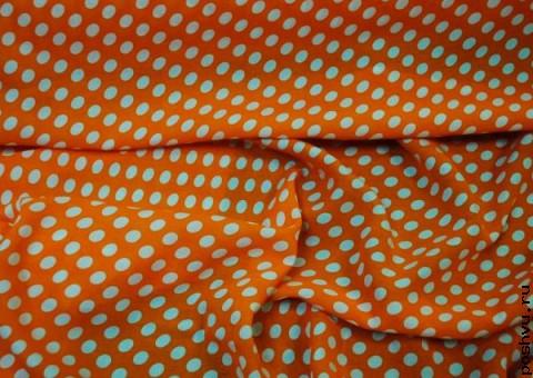 Хлопковая ткань ситец в горох Шестидесятые