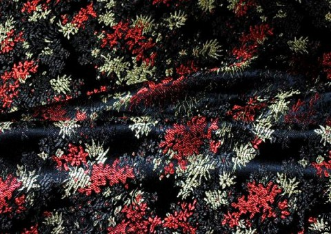 Ткань китайский шелк черный  Фейерверк