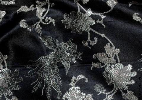 Ткань китайский шелк черный Полет Дракона