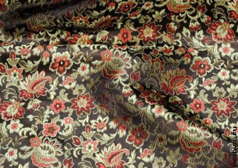 Ткань китайский шелк черный Русский узор