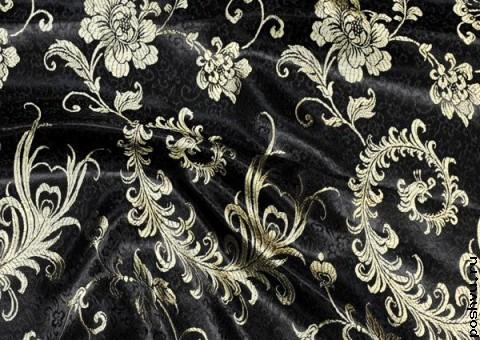 Ткань китайский шелк черный с золотом Флора