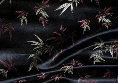 Ткань китайский шелк черный Заросли бамбука
