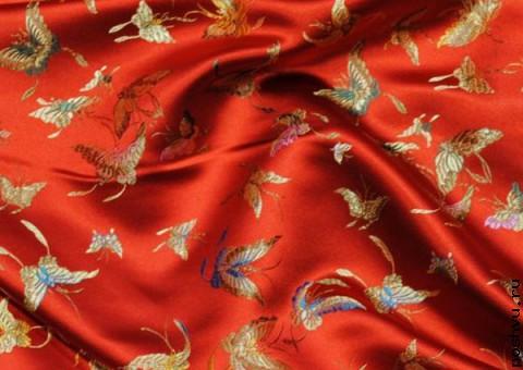 Ткань китайский шелк красный Махаон
