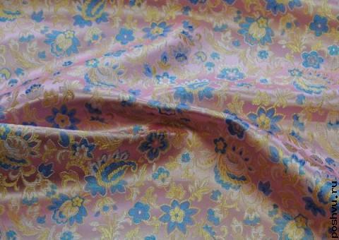 Ткань китайский шелк розовый Цветочная поляна