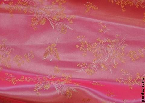 Ткань китайский шелк розовый Поля клевера
