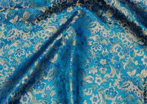 Ткань китайский шелк синий Пейсли золотой
