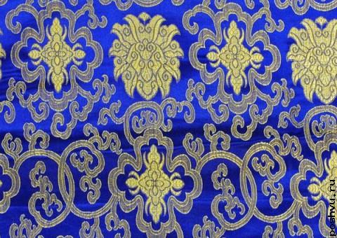 Ткань китайский шелк синий Золотой гирих