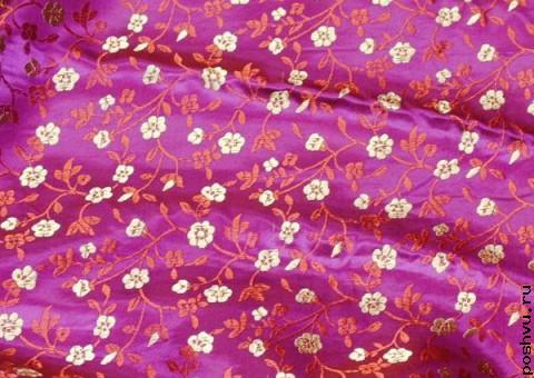 Ткань китайский шелк сиреневый Золотые поля
