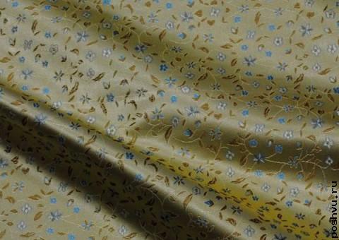 Ткань китайский шелк желтый Незабудки