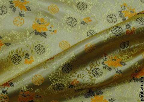 Ткань китайский шелк желтый Узор процветания