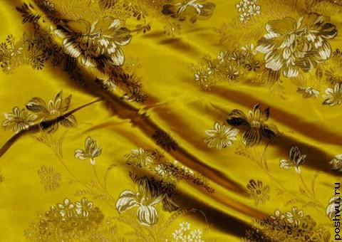 Ткань китайский шелк золотой Пионы