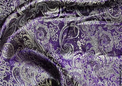 Ткань парча росписная Серебряная вьюга
