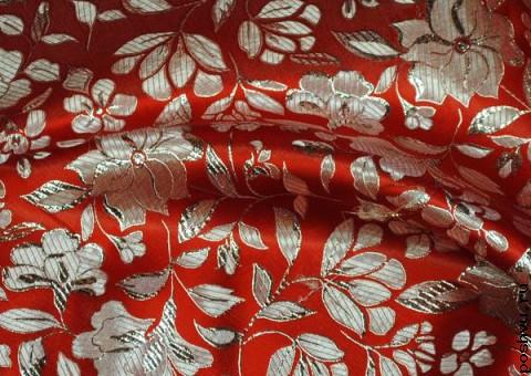 Ткань парча росписная Серебряные цветы