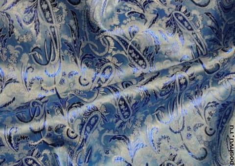 Ткань парча расписная синяя с шитьем Огрурцы