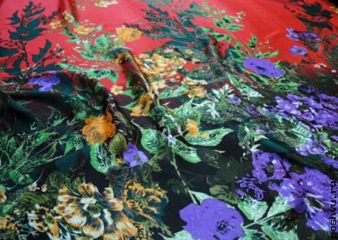 Шелковая ткань полотном - Цветочный простор