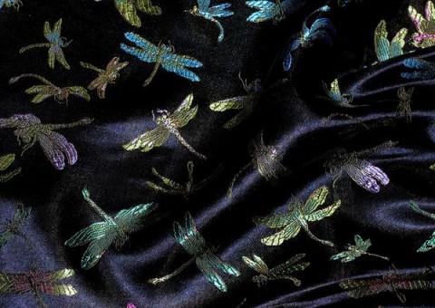 Шелковая ткань Золотая стрекоза