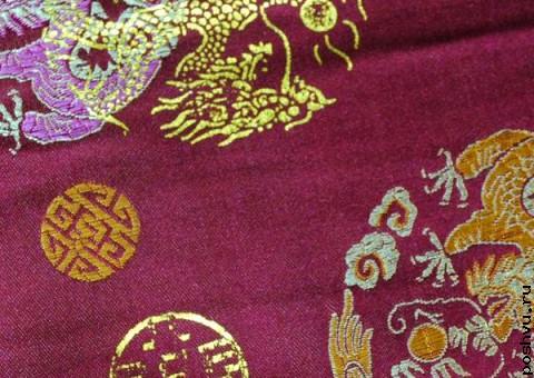 Шелковая ткань Золотой дракон удачи