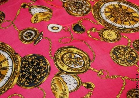 Ткань шелковый шифон Часики на конфетном