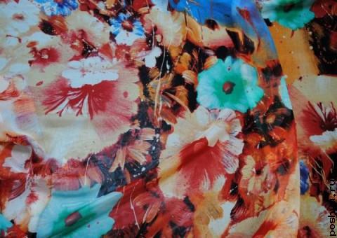 Ткань шелковый шифон Цветы Лантаны