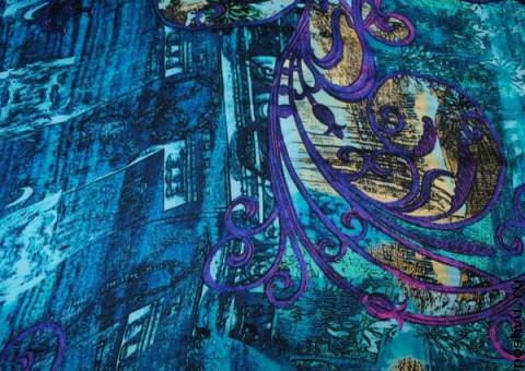 Ткань шелковый шифон Хвост павлина