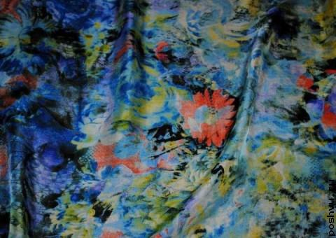 Ткань шелковый шифон Импрессионические цветы