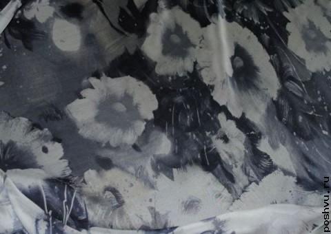 Ткань шелковый шифон Монохромные цветы