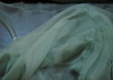 Ткань шелковый шифон Офитовый