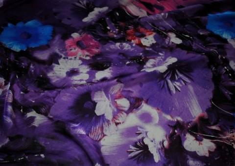 Ткань шелковый шифон Полночь в саду