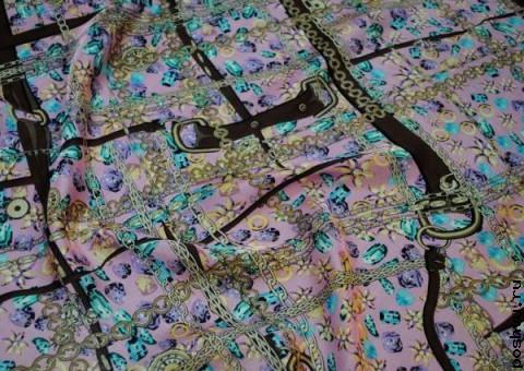 Ткань шелковый шифон с принтом с тиле Дольче и Габбана