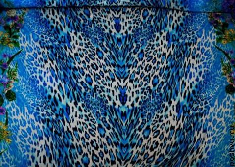 Ткань шелковый шифон Синий тигр