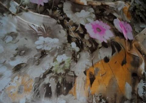 Ткань шелковый шифон Старая картина
