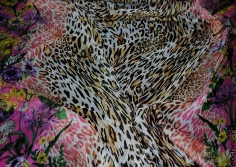 Ткань шелковый шифон Тигровый букет